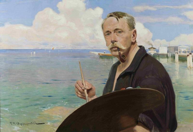 Autoportret z paletą na tle morza i portu, Muzeum Narodowe w Warszawie