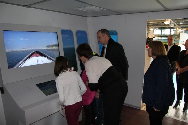 Ośrodek Kultury Morskiej - mostek kapitański na wystawie interaktywnej
