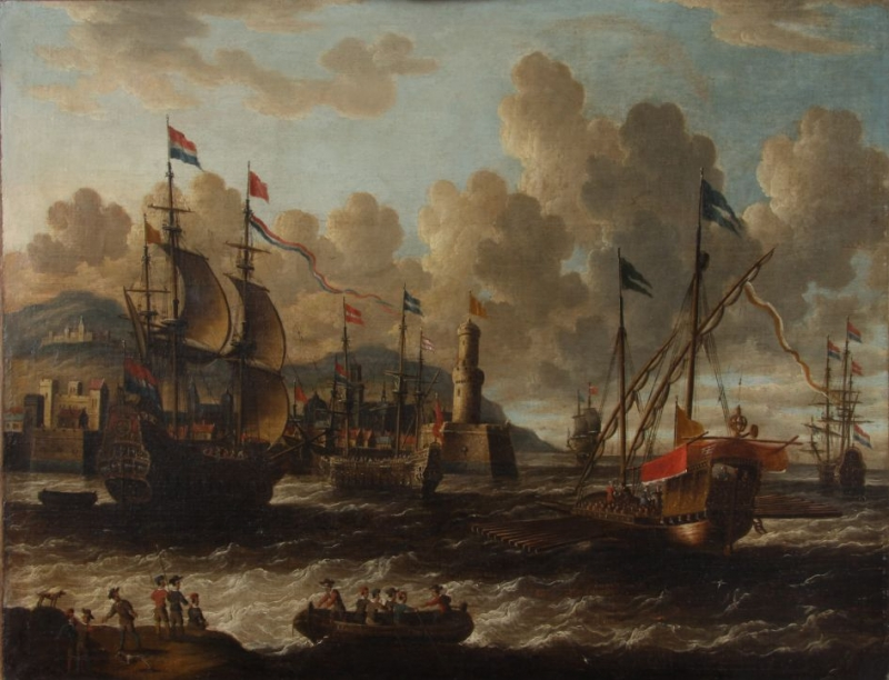 "Pieter van den Velde (1634-po 1687) ""Widok na port z żaglowcami"""
