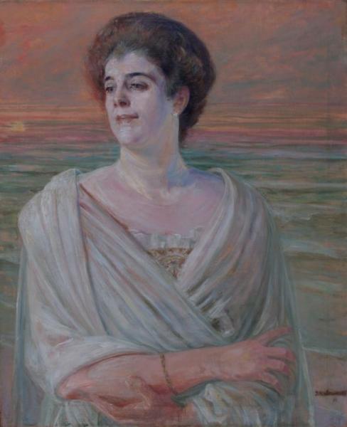 """Jacek Malczewski (1954-1929) """"Portrer damy na tle morza"""", 1915-19"""