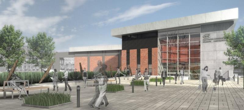 Centrum Konserwacji Wraków Statków wraz z Magazynem Studyjnym; widok od strony ulicy 30 stycznia – autor wizualizacji: FORMA architekci