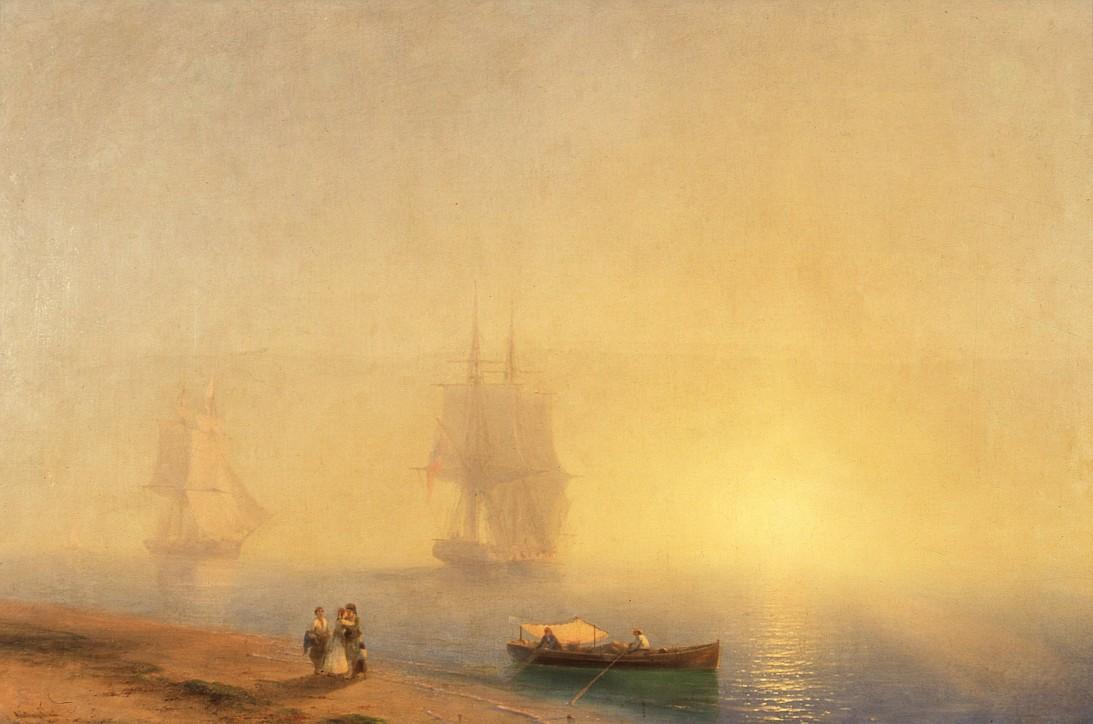 """Iwan K. Ajwazowski (1817–1900), """"Pożegnanie o świcie"""", 1855"""