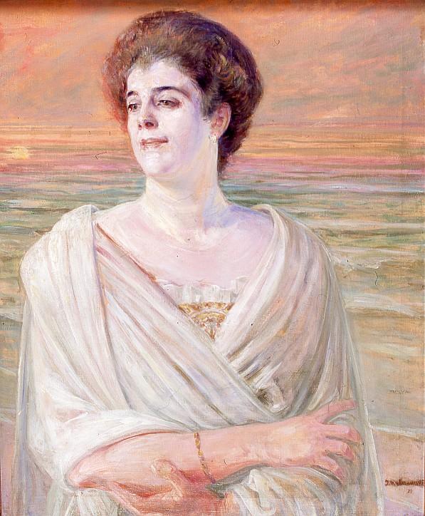 """Jacek Malczewski (1854-1929), """"Portret damy na tle morza"""""""