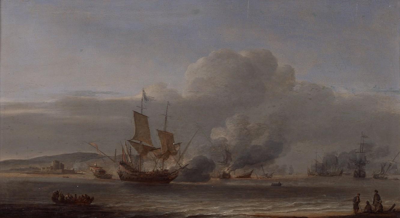 """Ludolf Bakhuysen (1631-1708), """"Potyczka morska"""", ok. 1660"""