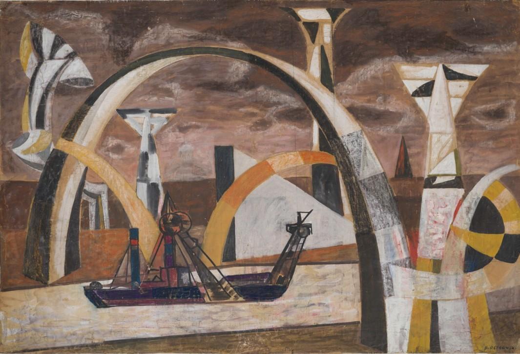 Pogłębiarka (Statek w pejzażu), b.r. (lata 1950.?), Własność Rodziny Artysty