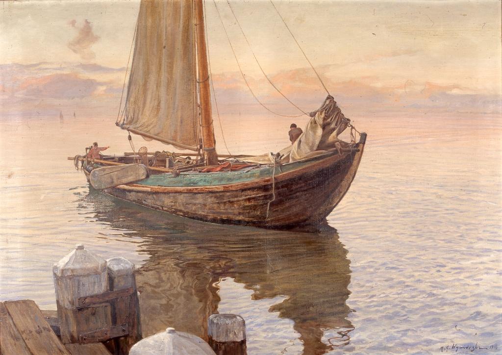 """Michał Gorstkin Wywiórski (1861–1926), """"Łodź rybacka"""", 1916"""