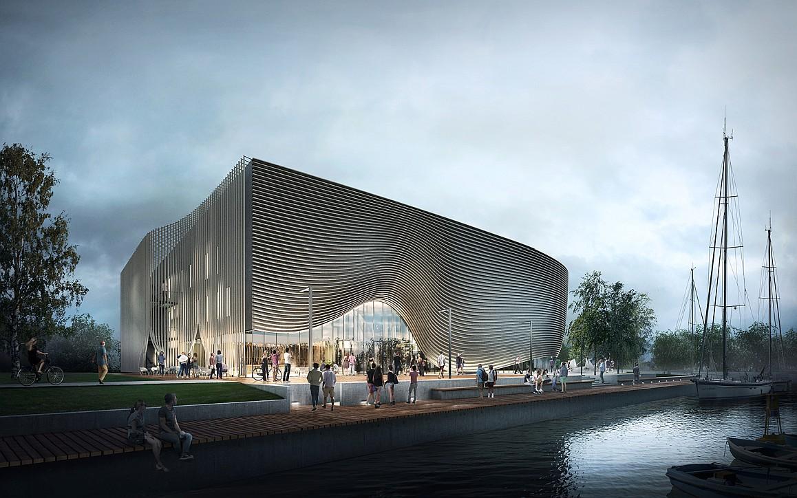 Projekt Muzeum Archeologii Podwodnej i Rybołówstwa Bałtyckiego w Łebie. Budynek nocą. Autor plus3architekci