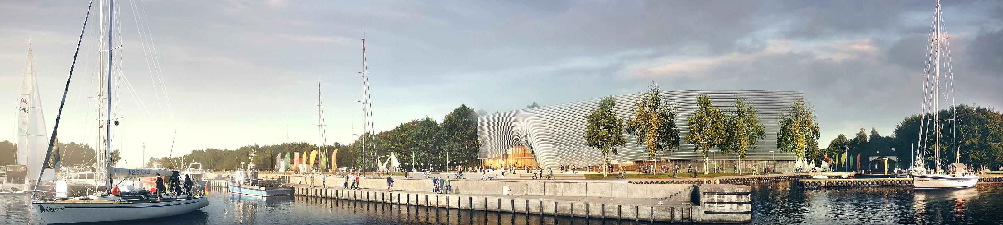Projekt Muzeum Archeologii Podwodnej i Rybołówstwa Bałtyckiego w Łebie. Widok zza rzeki. Autor plus3architekci