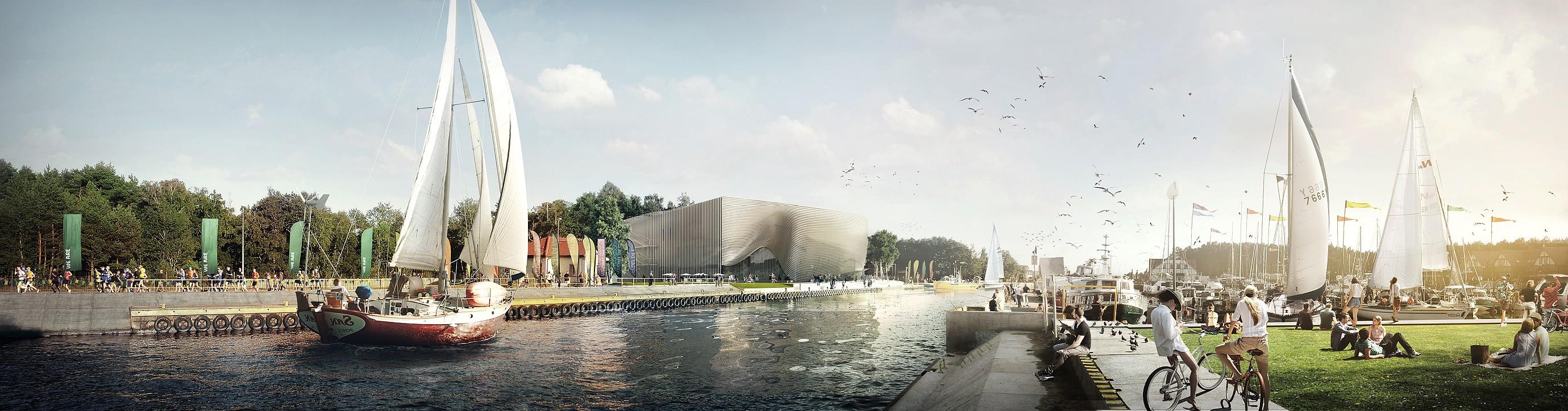 Projekt Muzeum Archeologii Podwodnej i Rybołówstwa Bałtyckiego w Łebie. Przestrzeń rekreacyjna. Autor plus3architekci