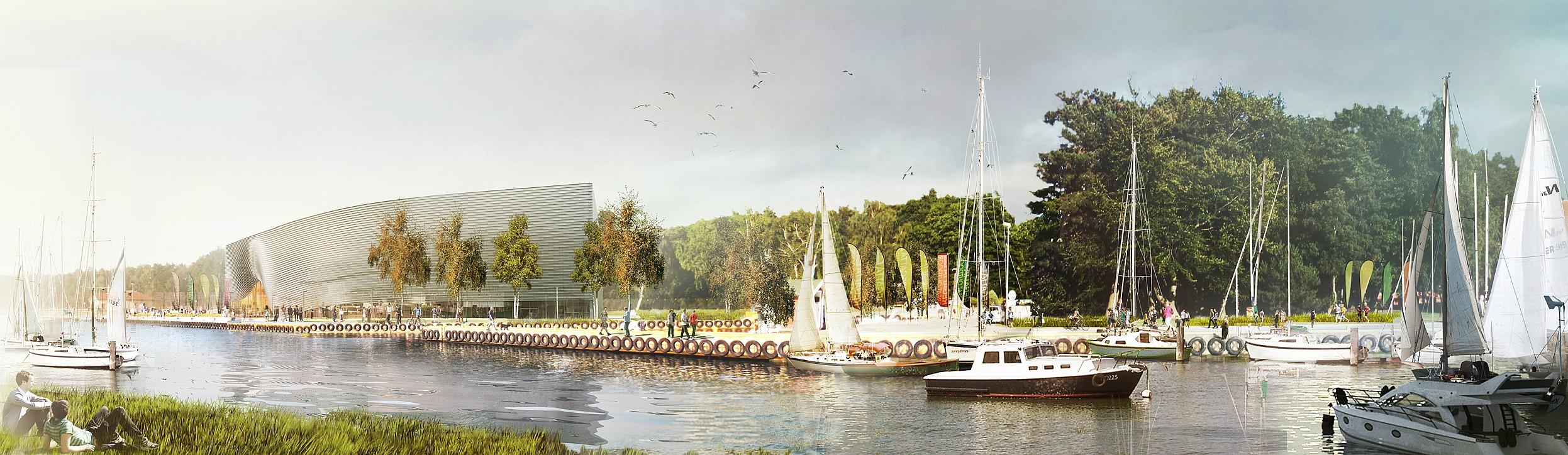 Projekt Muzeum Archeologii Podwodnej i Rybołówstwa Bałtyckiego w Łebie. Widok z portu. Autor plus3architekci