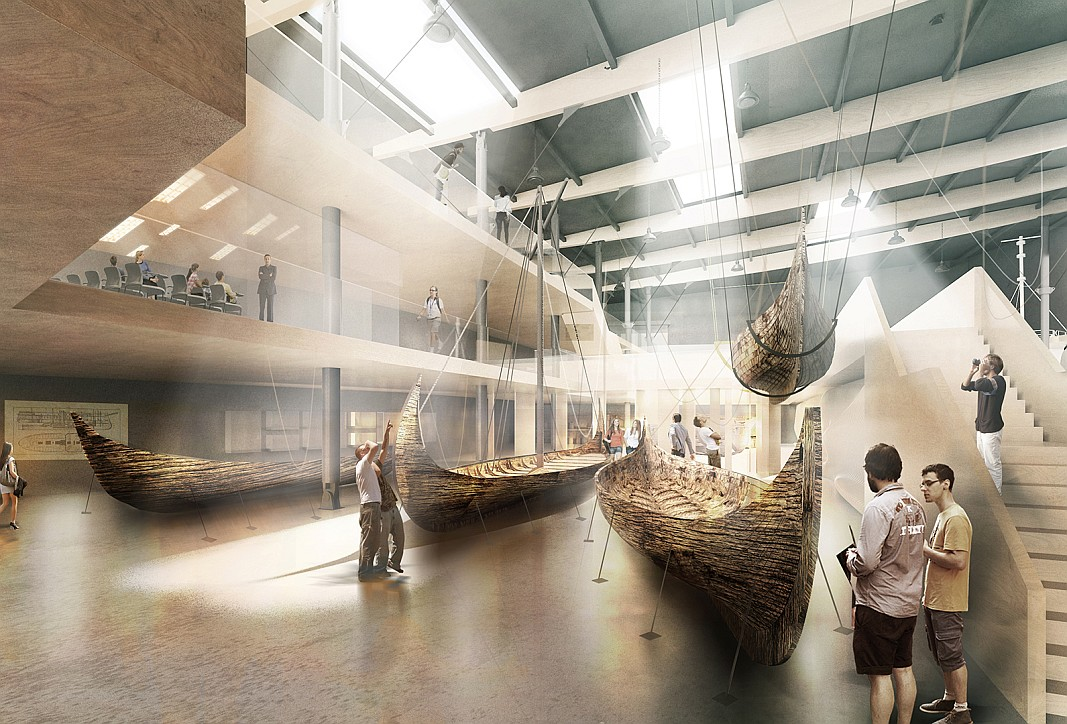 Projekt Muzeum Archeologii Podwodnej i Rybołówstwa Bałtyckiego w Łebie. Sala wystawowa. Autor plus3architekci