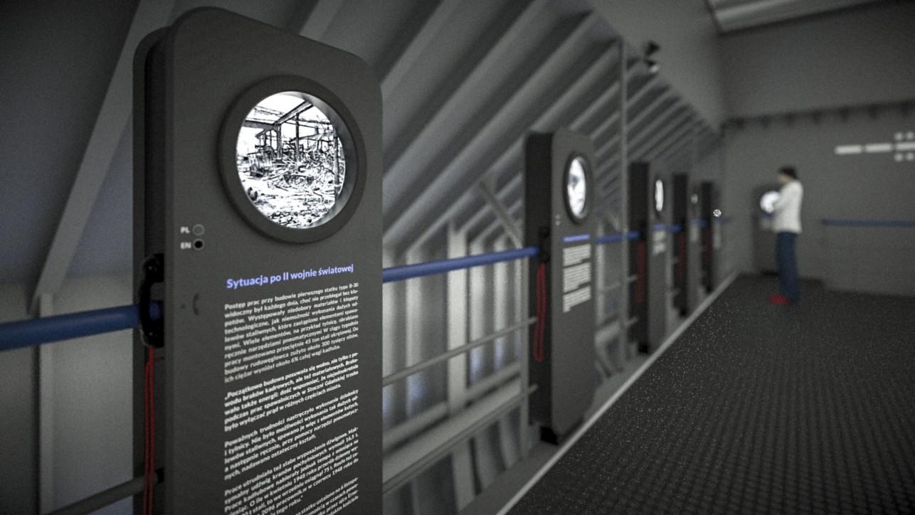 Wizualizacja nowych ekspozytorów w formie iluminatorów z treścią wystawy (projekt: P. Mikołajczak, P. Gełesz).