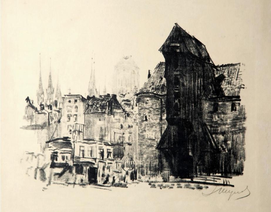 Leon Wyczółkowski (1852–1936), Stary Żuraw z teki Gdańsk, Kraków, 1909, wyd.: Zakład Litograficzny Aureliusza Prószyńskiego