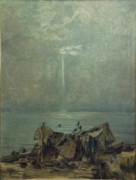 Marian Mokwa (1889–1987), Łodzie na plaży, 1924