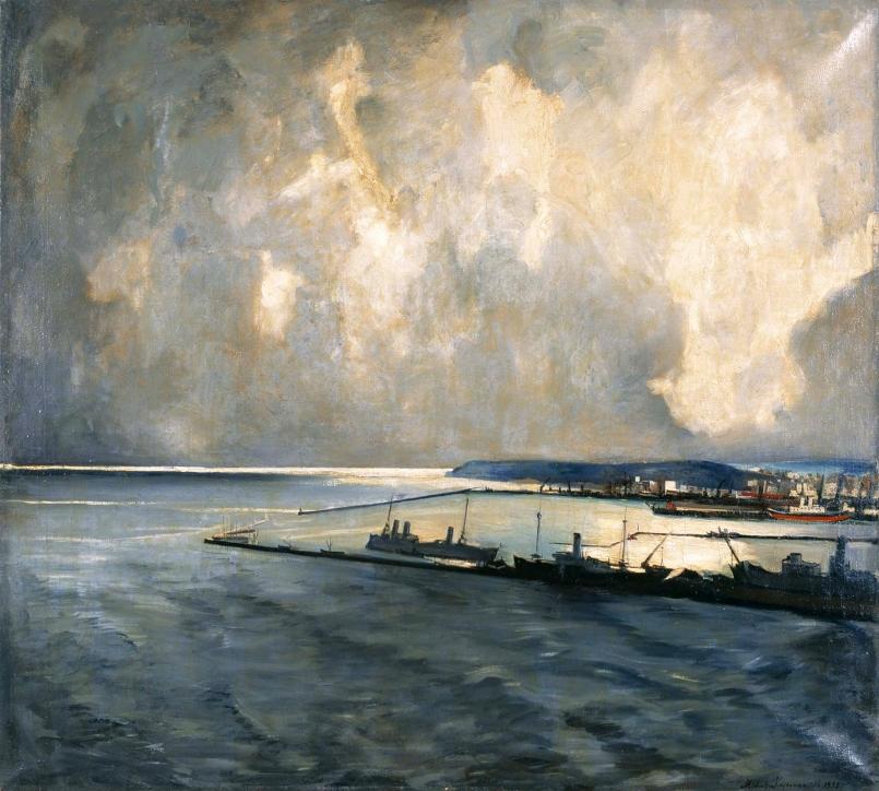 Michalina Krzyżanowska (1883–1962), Widok portu w Gdyni z Oksywia (Port Wojenny), 1935