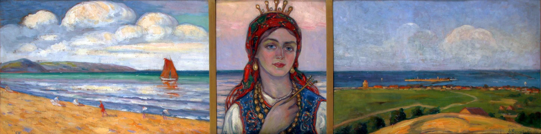 """Leon Kowalski (1870-1937), """"Tryptyk Polskie morze: Orłowo - Królowa morza polskiego – Gdynia, 1925"""