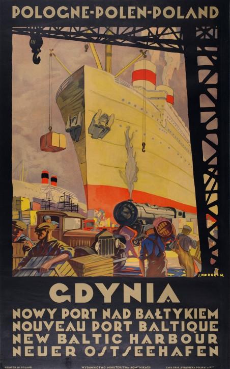 """Stefan Norblin, Plakat """"Gdynia - nowy port nad Bałtykiem"""", 1925"""