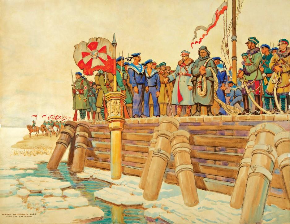 """Henryk Uziembło, akwarela """"Zaślubiny Polski z morzem II"""", 1920"""
