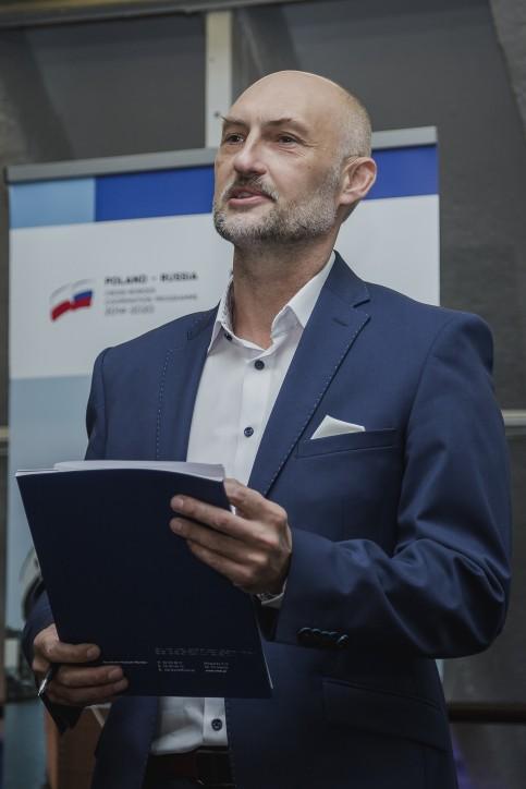 Dr R. Domżał, Dyrektor NMM, prowadzący konferencję prasową