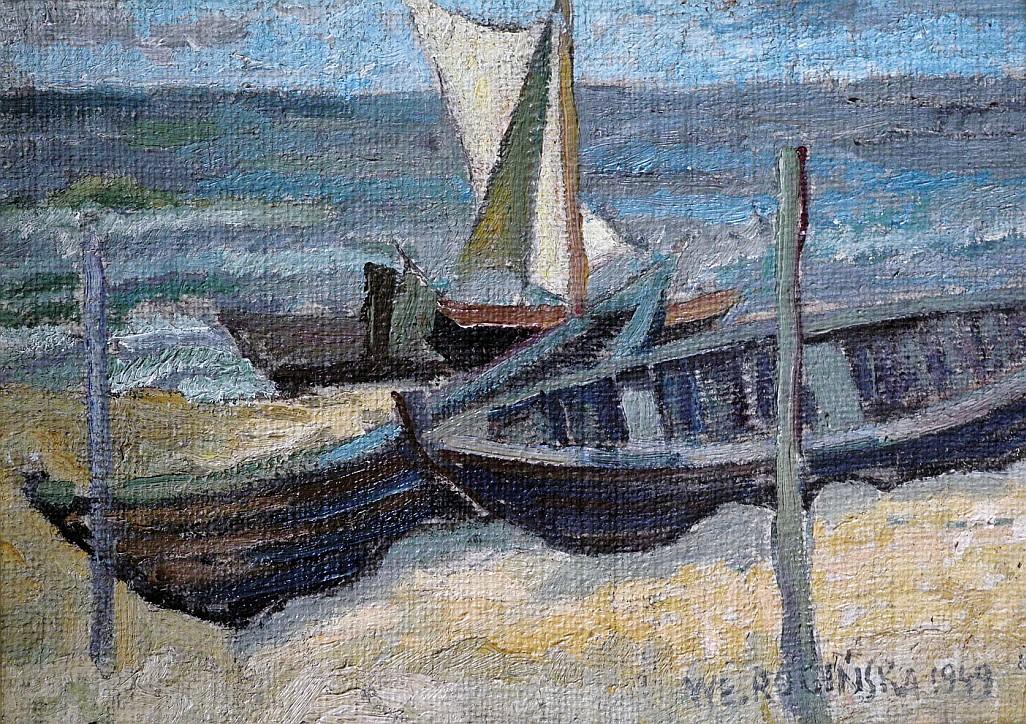 Łodzie na plaży, 1949, Władyslawa Rogińska