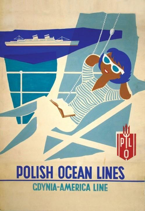 """Projekt plakatu: """"Polish Ocean Lines – Gdynia America Line"""", Beata Słuszkiewicz-Kaczorowska (1916-2006), Polska, Sopot, ok. 1960, ze zbiorów Narodowego Muzeum Morskiego w Gdańsku, fot. B. Galus"""