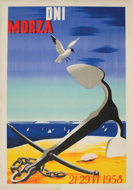 """Plakat: """"Dni Morza 21-29 VI 1958"""", AN, Polska, Kraków, 1957, ze zbiorów Narodowego Muzeum Morskiego w Gdańsku, fot. B. Galus"""