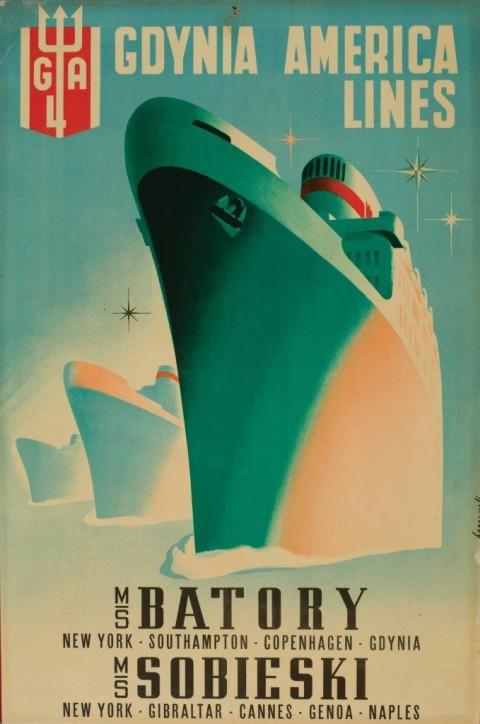 """Plakat: """"Gdynia America Lines"""", sygn. Bernarroli, Włochy, 1947, ze zbiorów Narodowego Muzeum Morskiego w Gdańsku, fot. B. Galus"""