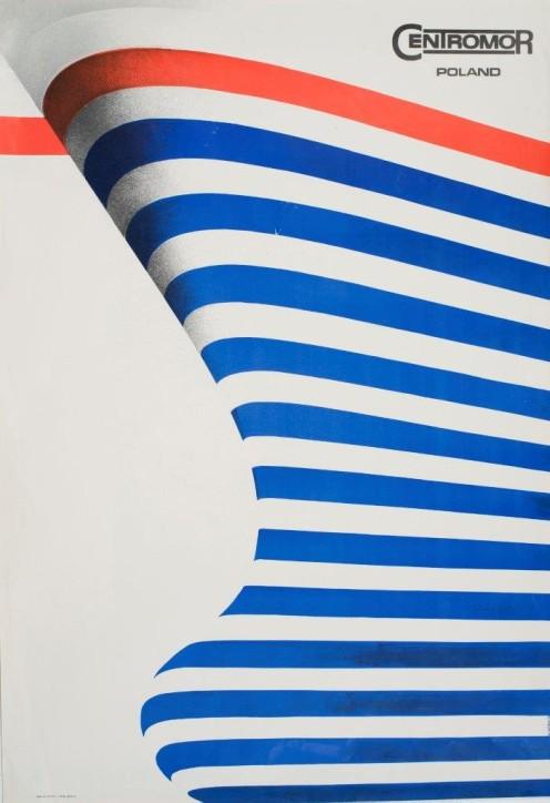 """Plakat: """"Centromor Poland"""", Wiktor Górka (1922-2004), Polska, 1974, ze zbiorów Narodowego Muzeum Morskiego w Gdańsku, fot. B. Galus"""