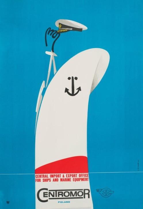 """Plakat: """"Centromor"""", Karol Śliwka (1932-2018), Polska, 1967, ze zbiorów Narodowego Muzeum Morskiego w Gdańsku, fot. B. Galus"""