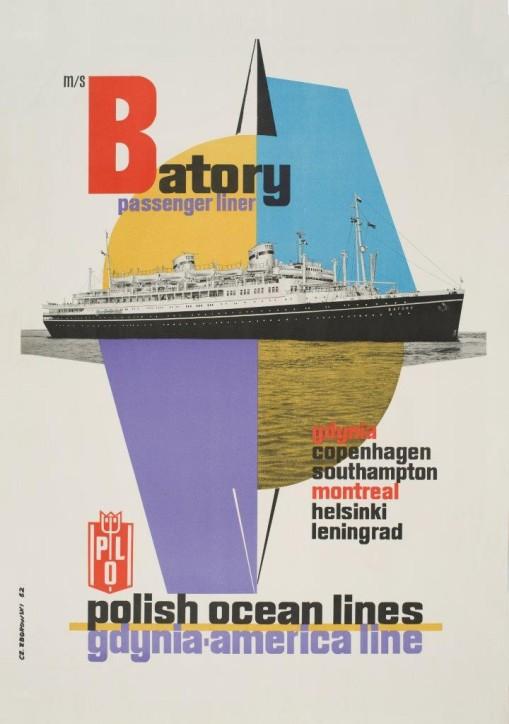 """Plakat: """"M/s Batory Polish Ocean Lines: Gdynia – America Line"""", Czesław Zborowski (1914- 1965), Polska, 1962, ze zbiorów Narodowego Muzeum Morskiego w Gdańsku, fot. B. Galus"""
