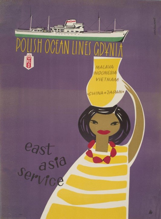 """Plakat: """"Polish Ocean Lines East Asia Service"""", Bolesław Siemianowski (1924-1989), Polska, 1963, ze zbiorów Narodowego Muzeum Morskiego w Gdańsku, fot. B. Galus"""