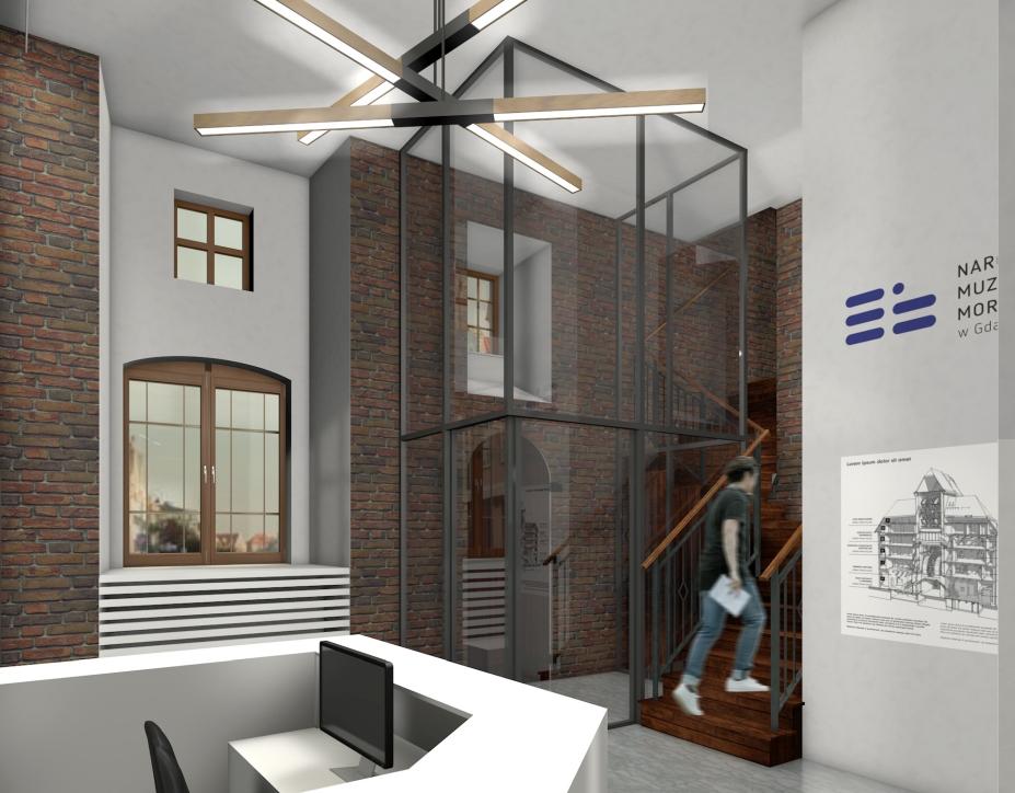 Wizualizacja nowego holu w Żurawiu. Widok na schody
