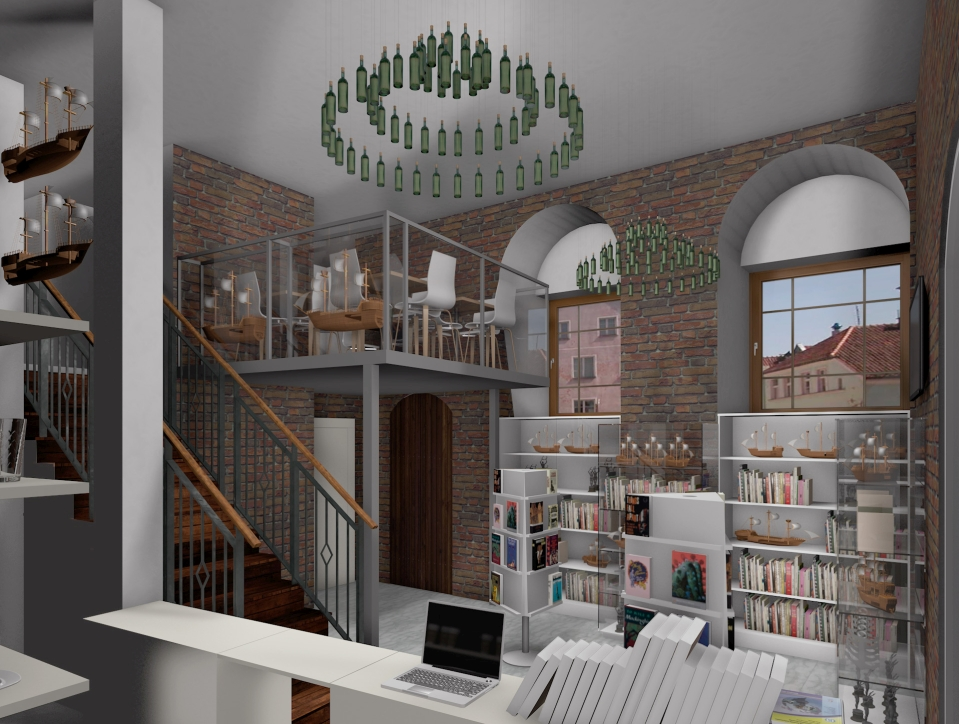 Wizualizacja nowego sklepiku w Żurawiu. Widok na antresolę