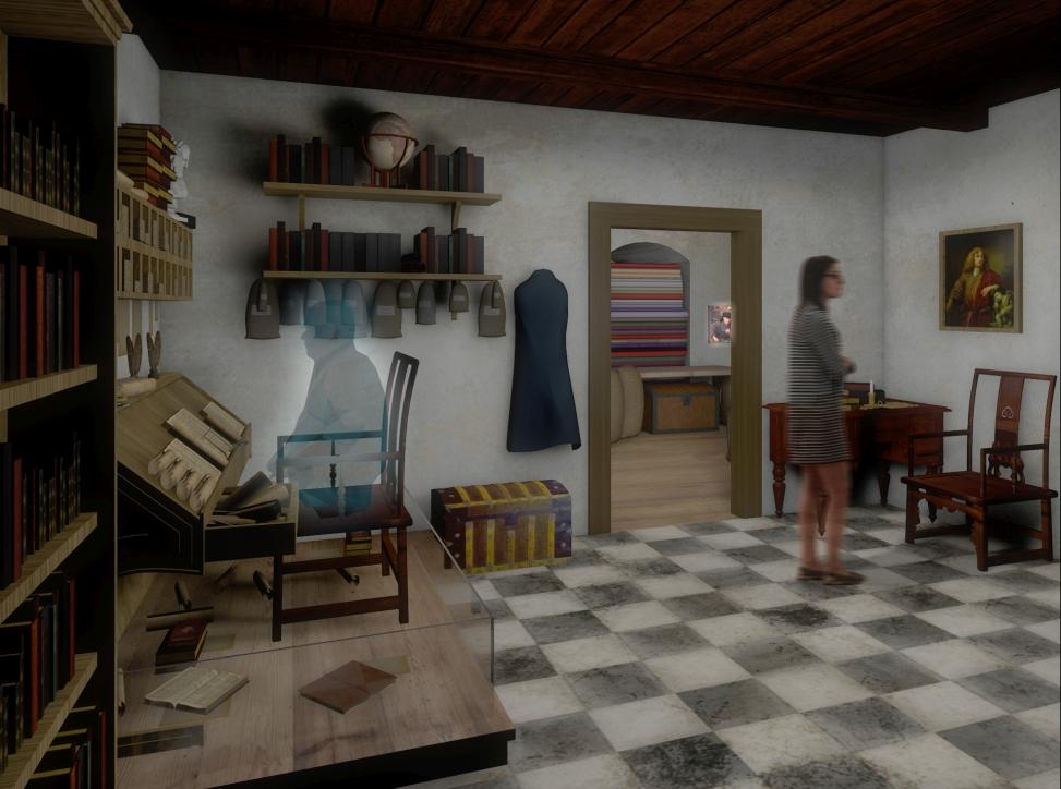 Wizualizacja nowej wystawy w Żurawiu - kantor kupca