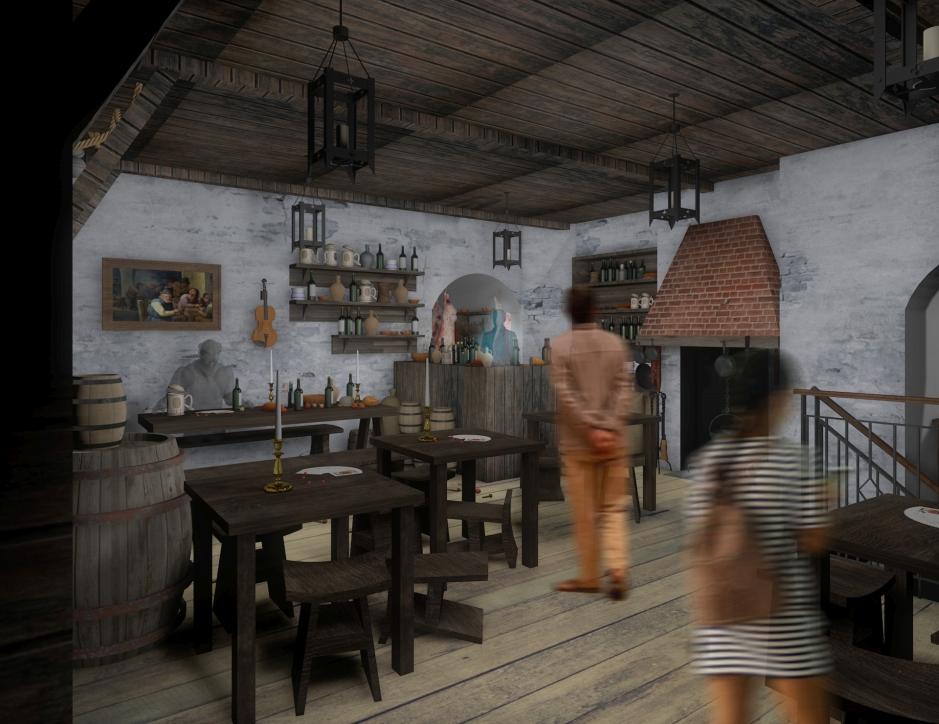 Wizualizacja nowej wystawy w Żurawiu - tawerna
