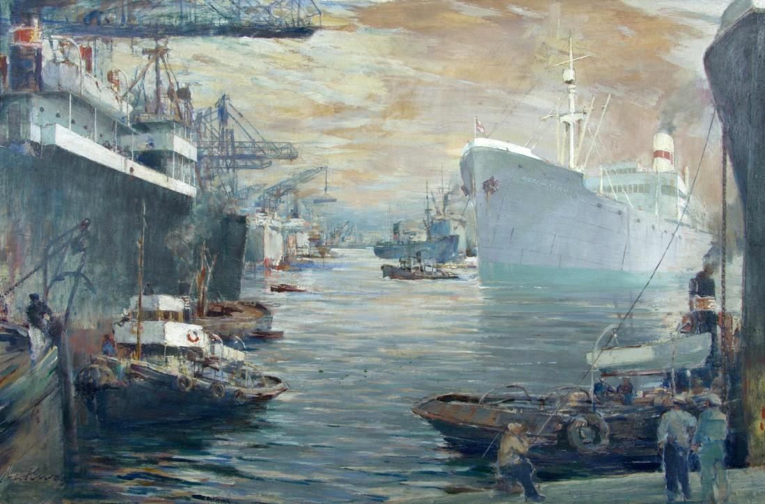 """Marian Mokwa (1889-1987), """"S.s. KOŚCIUSZKO w porcie"""", 1951-1970."""
