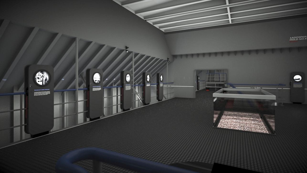 Wizualizacja nowych ekspozytorów w formie iluminatorów z treścią wystawy (projekt P. Mikołajczak, P. Gełesz)