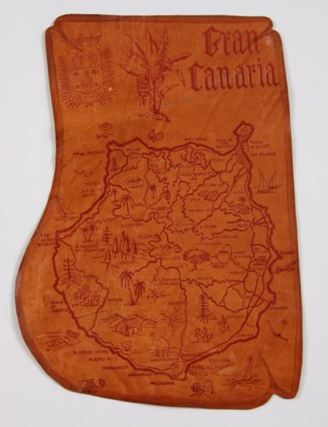Ozdobna mapa wyspy Gran Canaria, jaką kpt. Krystyna Chojnowskiej-Liskiewicz otrzymała po zakończeniu rejsu