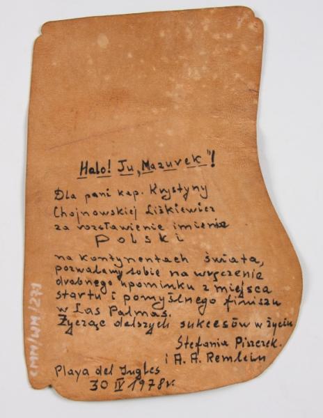 Dedykacja dla kpt. Krystyny Chojnowskiej-Liskiewicz umieszczona na drugiej stronie ozdobnej mapy wyspy Gran Canaria
