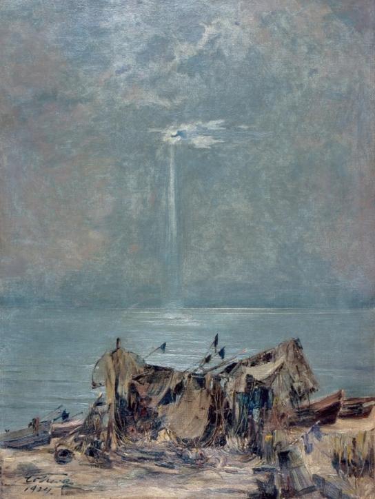 """""""Łodzie na plaży"""", 1924, olej, płótno. Zbiory NMM"""