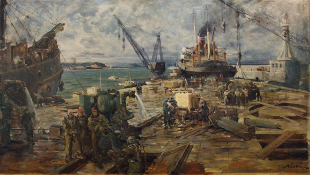 """""""Prace w porcie"""" (""""W porcie Gdynia""""), 1950-51, olej, płyta pilśniowa. Zbiory NMM"""