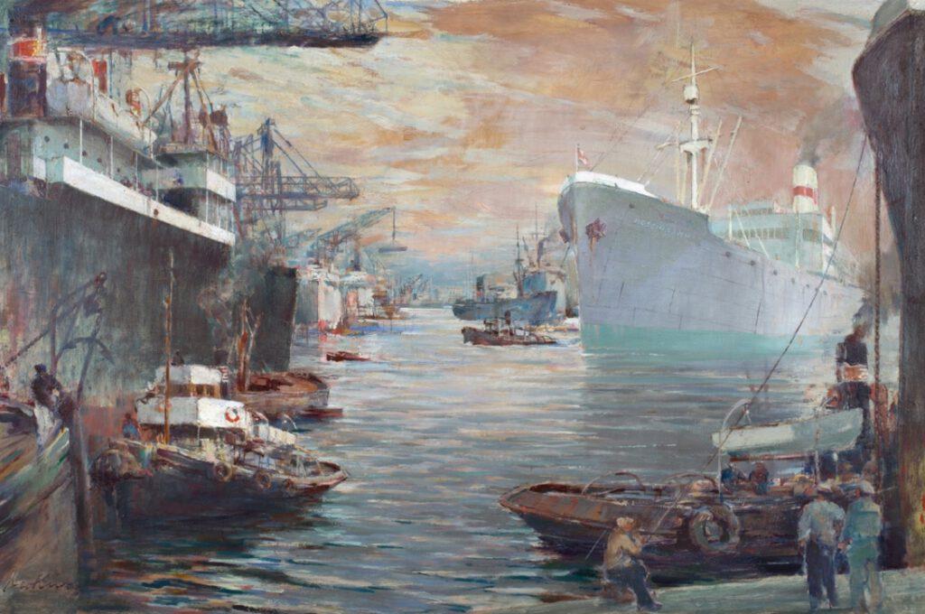 """""""Statek w porcie"""" (""""S.s. KOŚCIUSZKO w porcie""""), 1951-70, olej, sklejka. Zbiory NMM"""