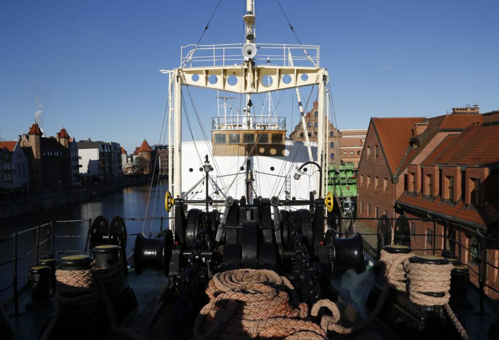 Pokład statku-muzeum Sołdek
